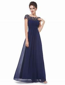 Chiffon Cap Sleeves Lace Navy Blue Bridesmaid Dresses,Blue ...