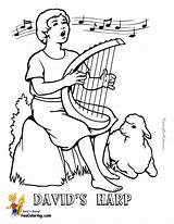 Coloring Harp Printable Template Bible David Yescoloring sketch template