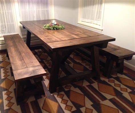 benches   farmhouse table  steps  pictures