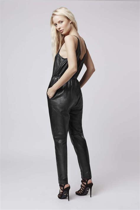 leather jumpsuits topshop leather jumpsuit in black lyst