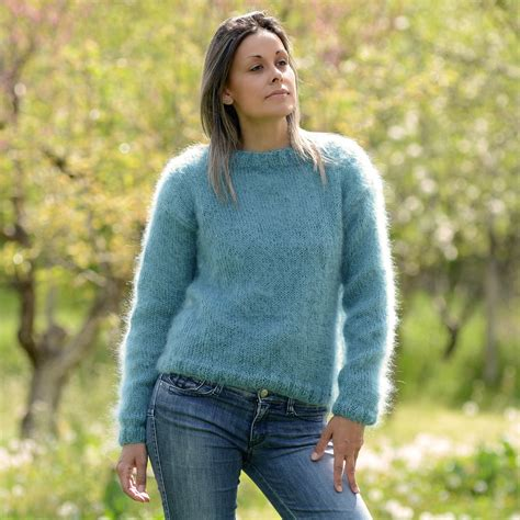 mohair sweater dull blue knitted crew neck mohair sweater by