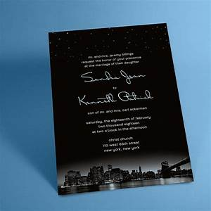 New york city skyline wedding invitations with night stars for Wedding invitations with new york skyline