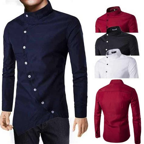 xxl fashion men casual shirts slim fit long sleeve
