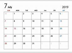 2019年7月カレンダーの無料イラスト素材|iiイラストイメージ