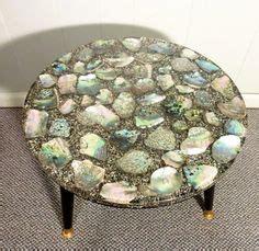 translucent resin table top  embedded seashells