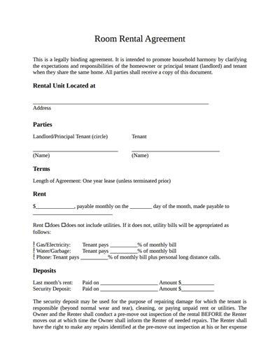 room rental agreement template   create