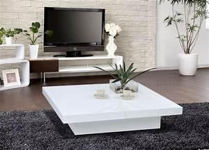 Table Salon Carrée : table basse blanche pour salon en 20 exemples magnifiques ~ Teatrodelosmanantiales.com Idées de Décoration