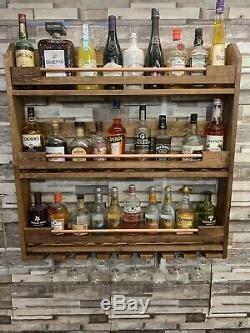 wall mounted handmade triple copper bar pine wine rack storage