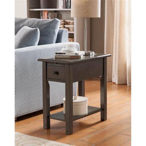 shop sutton brushed grey wood mdf side table
