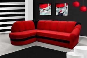 canape d39angle convertible rouge et noir design With tapis rouge avec h h canape convertible