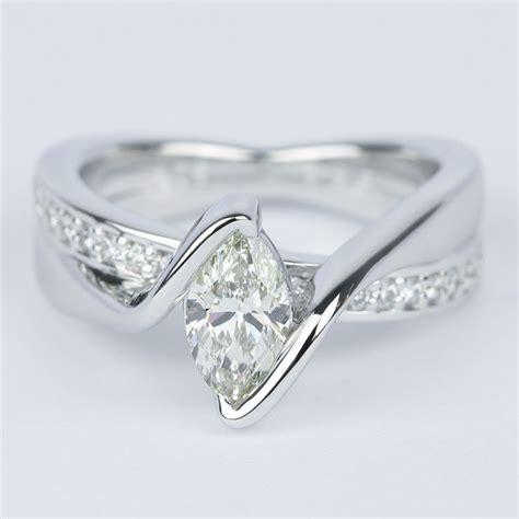 marquise bezel diamond bridge engagement ring  carat