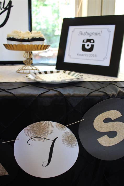 karas party ideas black white gold graduation party