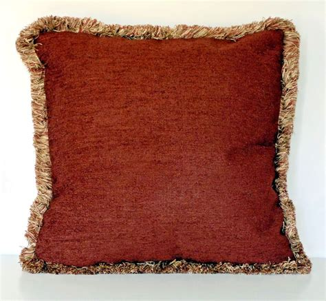 where to buy sofa pillows large solid rust chenille fringe decorative throw pillow
