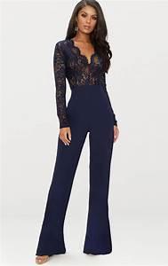 Combinaison Pantalon Femme Bleu Marine : combinaison bleu marine dentelle prettylittlething fr ~ Dallasstarsshop.com Idées de Décoration