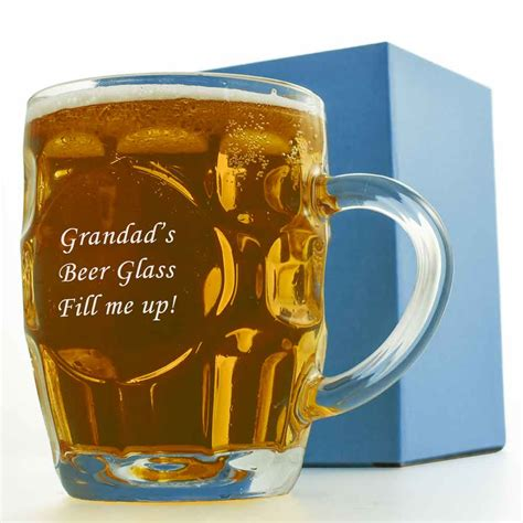 personalised dimple pint glass traditional beer tankard