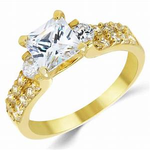 14k solid yellow gold cz cubic zirconia three stone With gold cubic zirconia wedding rings
