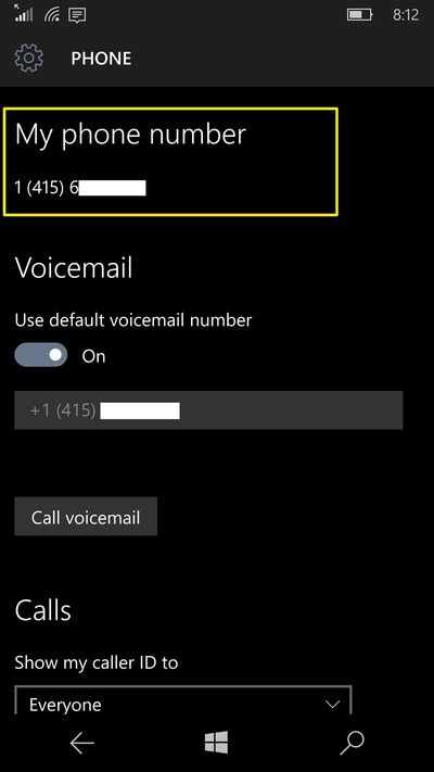 phone number to how to find your phone number in windows 10 mobile