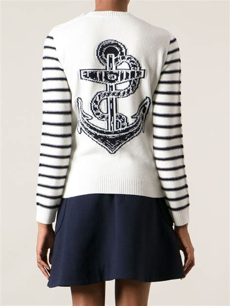 lyst valentino cable knit anchor sweater  blue