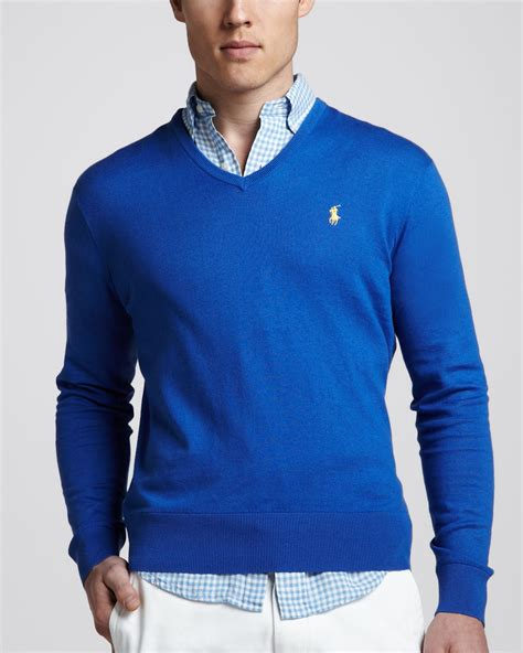blue sweater polo ralph vneck cottoncashmere sweater in blue for