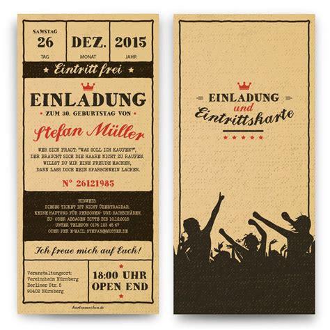 geburtstagseinladungen vintage ticket kreativ basteln