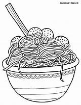 Coloring Pages Doodle Alley Spaghetti Noodle Printable Meatballs Sheets Mediafire Italian Adult Drawing Colorful Onlycoloringpages sketch template