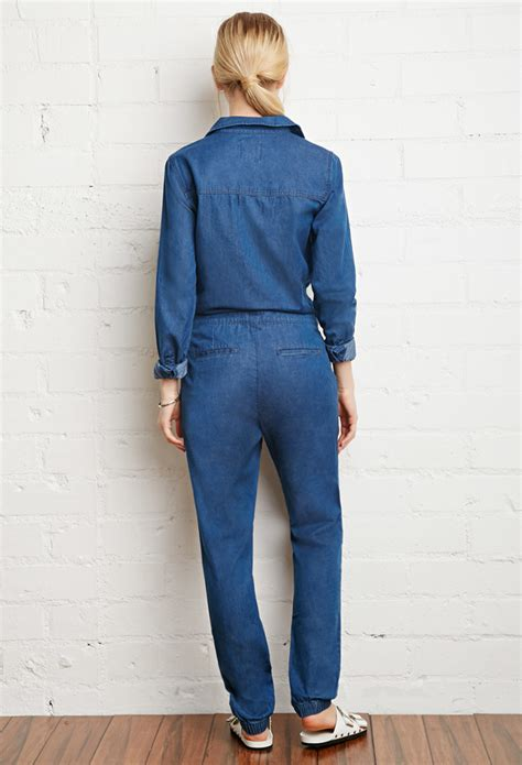 utility jumpsuit forever 21 denim utility jumpsuit in blue lyst