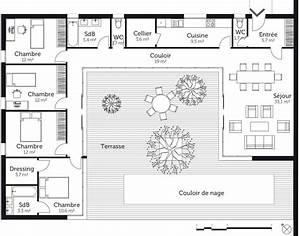 Plan Maison U : plan maison en u avec 4 chambres ooreka ~ Dallasstarsshop.com Idées de Décoration