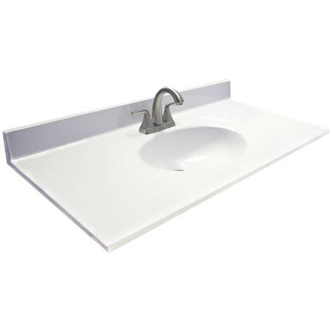 marble ambassador   white  white cultured marble bathroom vanity top  lowescom