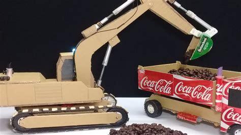 rc excavator diy  masterpiece  cardboard     excavator youtube