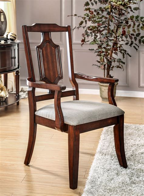 maderan traditional brown cherry dining arm chair set of