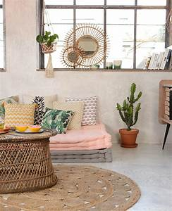 quel style de tapis choisir pour une deco boheme With tapis kilim avec canapé convertible rotin la redoute