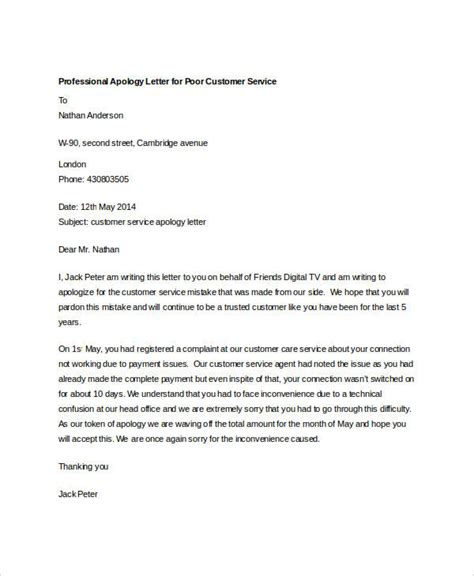 professional apology letter  customer due  poor