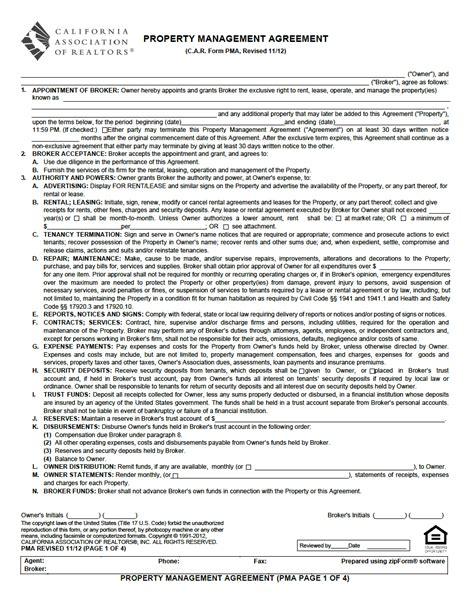 property management agreement  property management