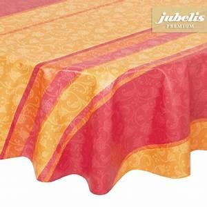 Abwaschbare Tischdecke Rund : beschichtete baumwolltischdecke lisanne orange ~ Michelbontemps.com Haus und Dekorationen