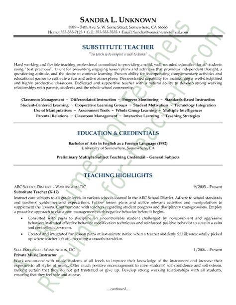 resume template for teaching position sle resumes sle substitute resume resumes