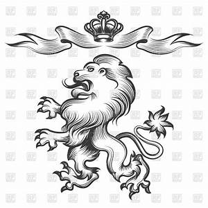 Hand drawn heraldic lion sketch with crown Vector Clipart ...