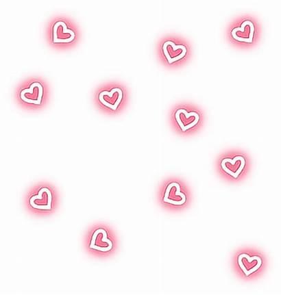 Neon Hearts Glow Pretty Aesthetic Picsart Sweet