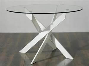Table En Verre Ronde : table manger ronde en m tal et verre tremp york chrom 120cm ~ Teatrodelosmanantiales.com Idées de Décoration