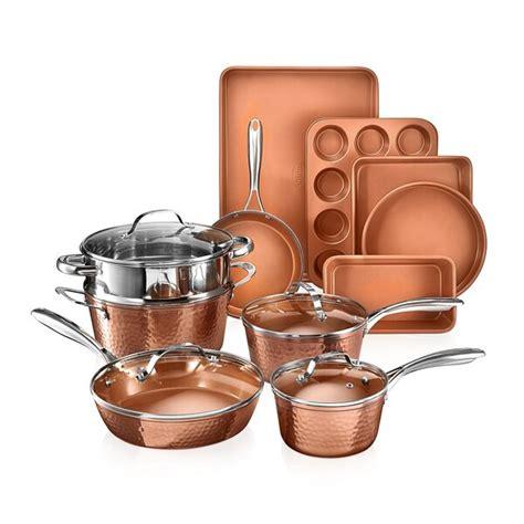 gotham steel hammered copper  piece ceramic  stick cookware set reviews wayfair