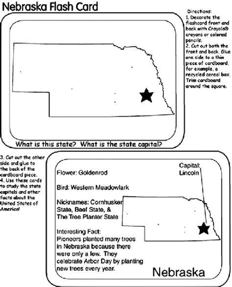 state flash cards nebraska coloring page crayolacom