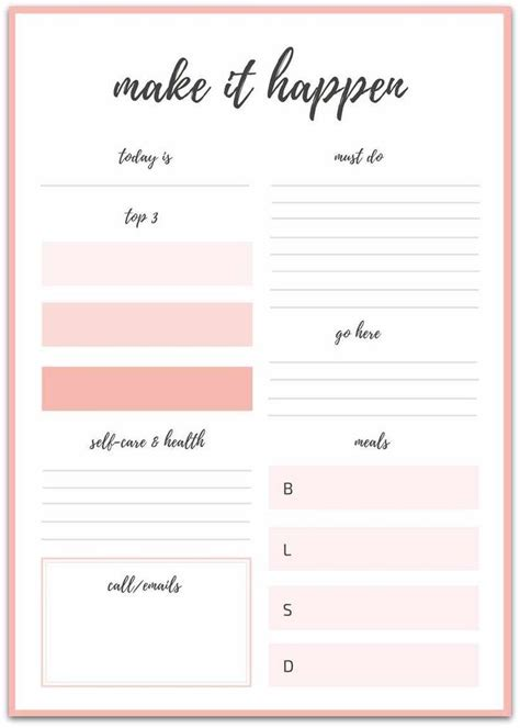 printable daily planner daily planner template daily