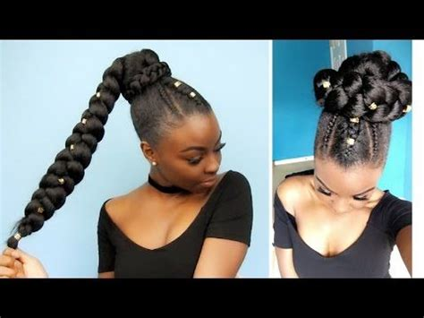 side ponytail  jumbo braid protective style natural hair styles braided ponytail