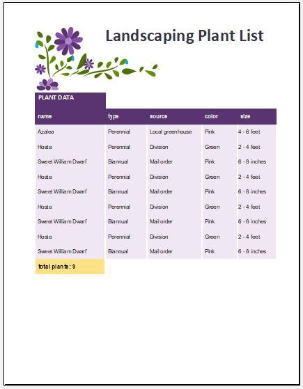 landscaping plant list template microsoft word excel