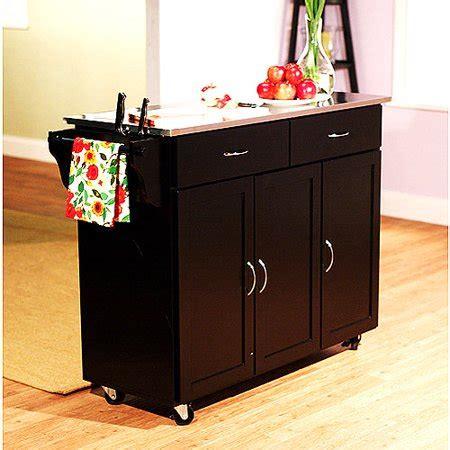 walmart kitchen cart large kitchen cart black with stainless steel top