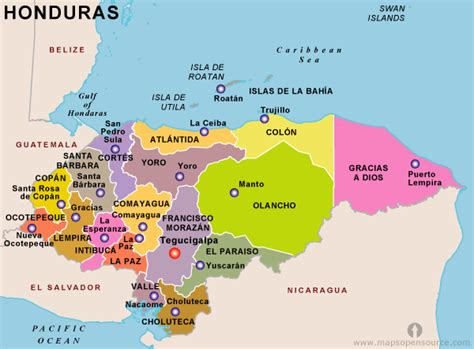 honduras map toursmapscom
