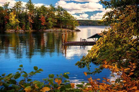usa lake marinas autumn  york city trees lake george
