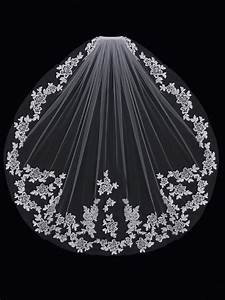 Wedding Veil with Lace Flowers Cathedral or Fingertip ...