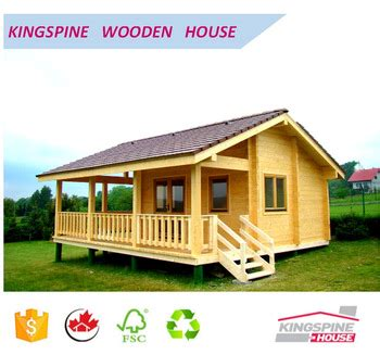 Wooden Log Cabin Prefabricated Wood House With Terrace Low