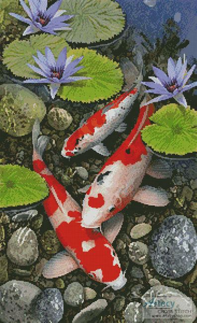 artecy cross stitch koi pond crossing cross stitch pattern  print