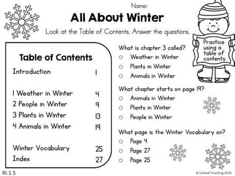 table of contents worksheets 2nd grade free worksheets